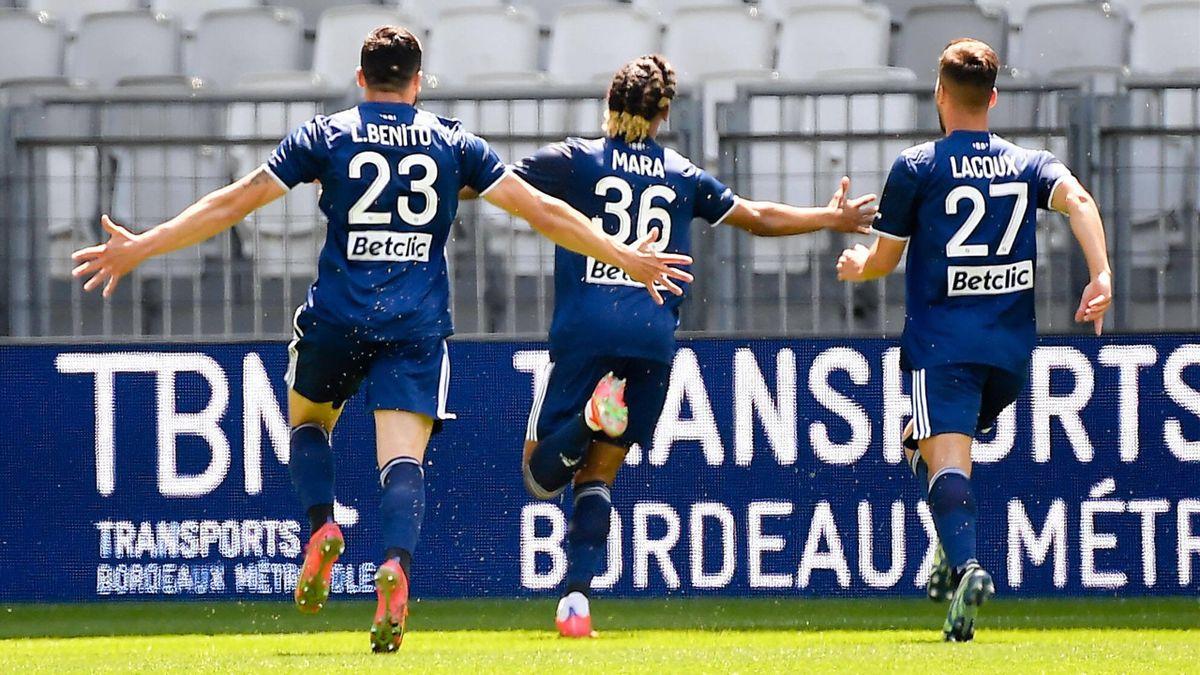 Sékou Mara, buteur lors du match opposant Bordeaux à Rennes, le 2 mai 2021, en Ligue 1