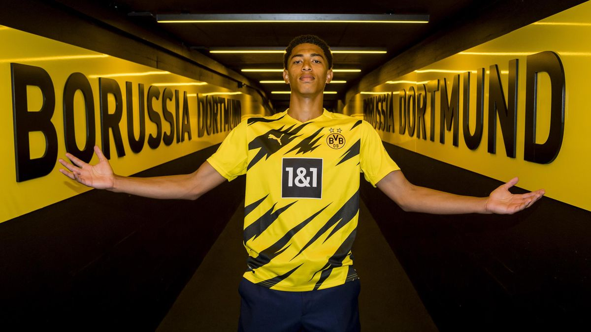 Jude Bellingham poses after he signed a contract with Borussia Dortmund on July 16, 2020 in Dortmund, Germany. As the club announced today, Monday 20 July, 2020