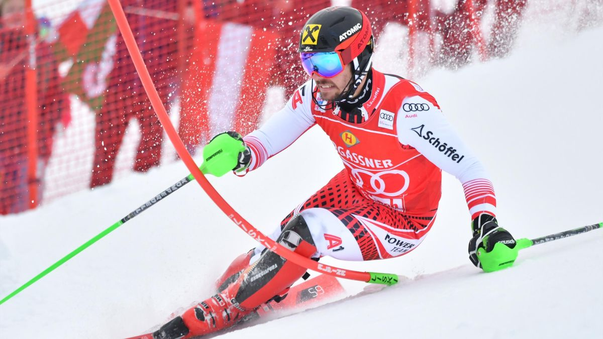 Marcel Hirscher of Austria competes in the first run of the men's slalom event of the FIS ski world cup in Saalbach, Austria on December 20, 2018