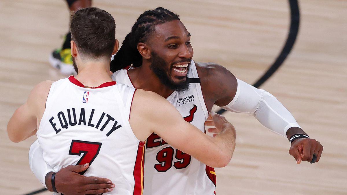 La joie des joueurs de Miami après leur nouvelle victoire face à Boston