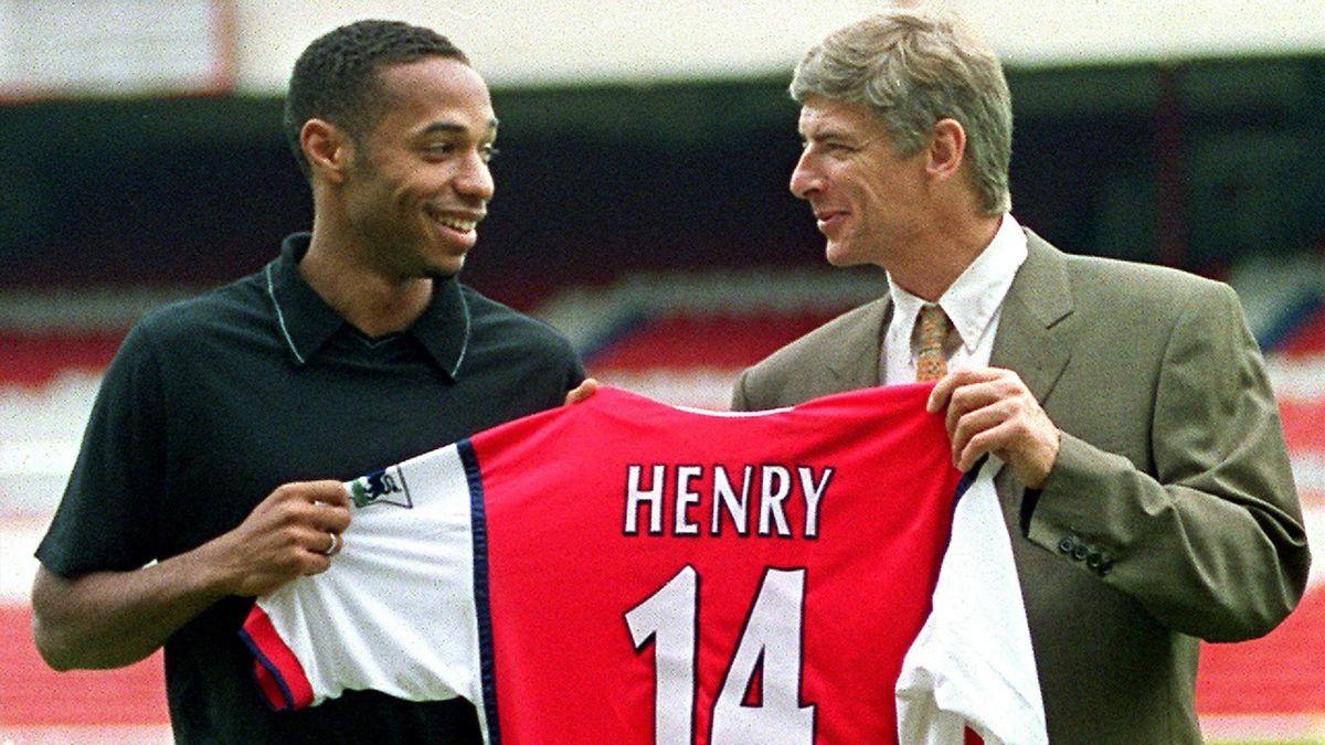 Thierry Henry und Trainer Arsène Wenger beim FC Arsenal 1999