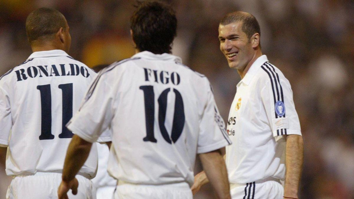 Zinédine Zidane mit Luis Figo und Ronaldo bei Real Madrid