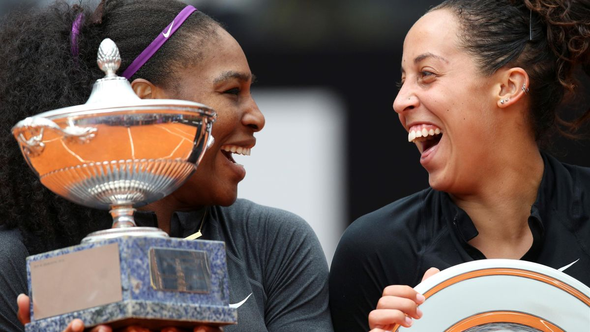 Serena Williams shares a laugh with Madison Keys.