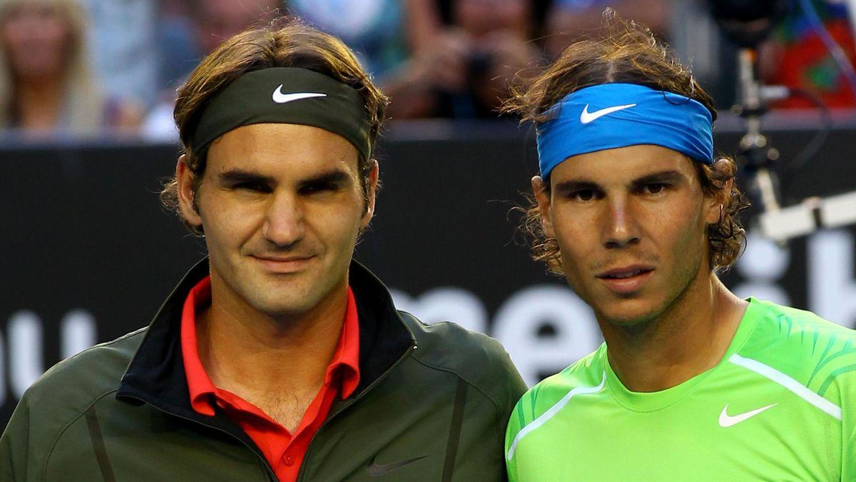 Roger Federer et Rafael Nadal avant leur demi-finale à Melbourne en 2012.