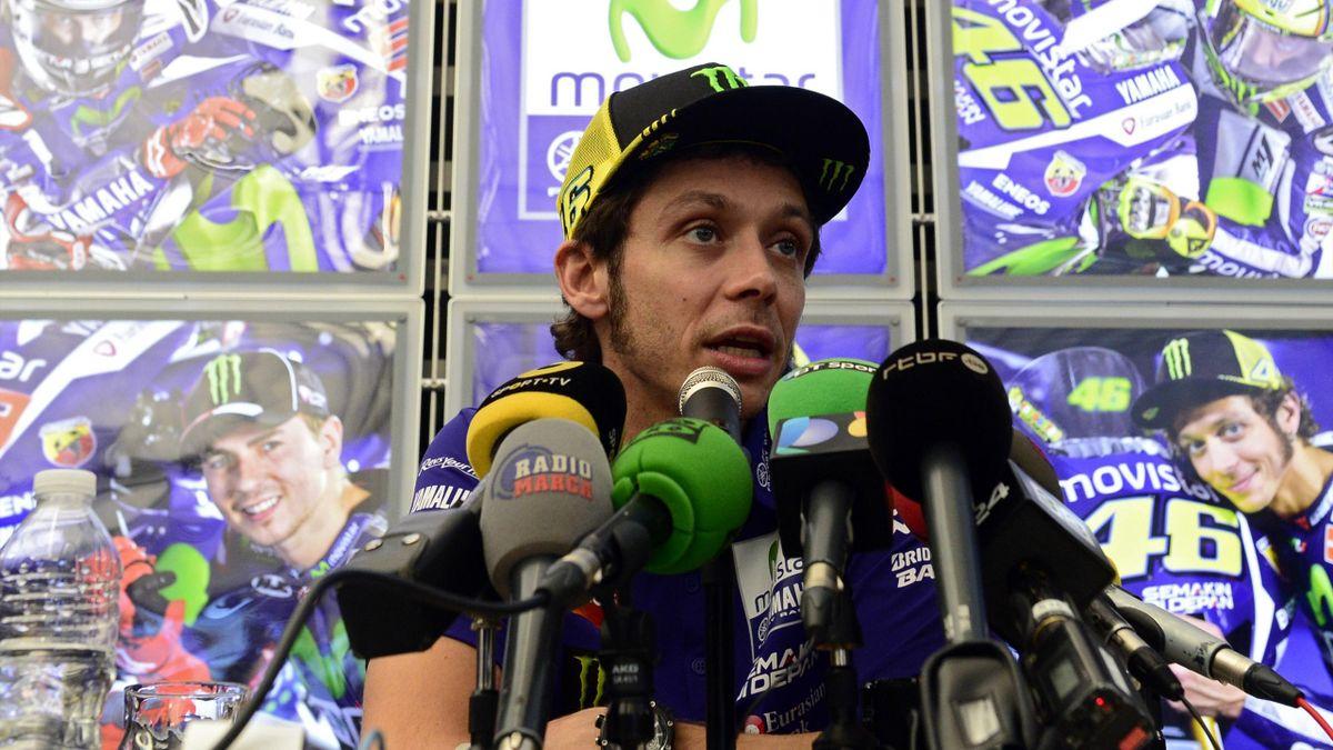 Valentino Rossi lors de la conférence de presse à Valence