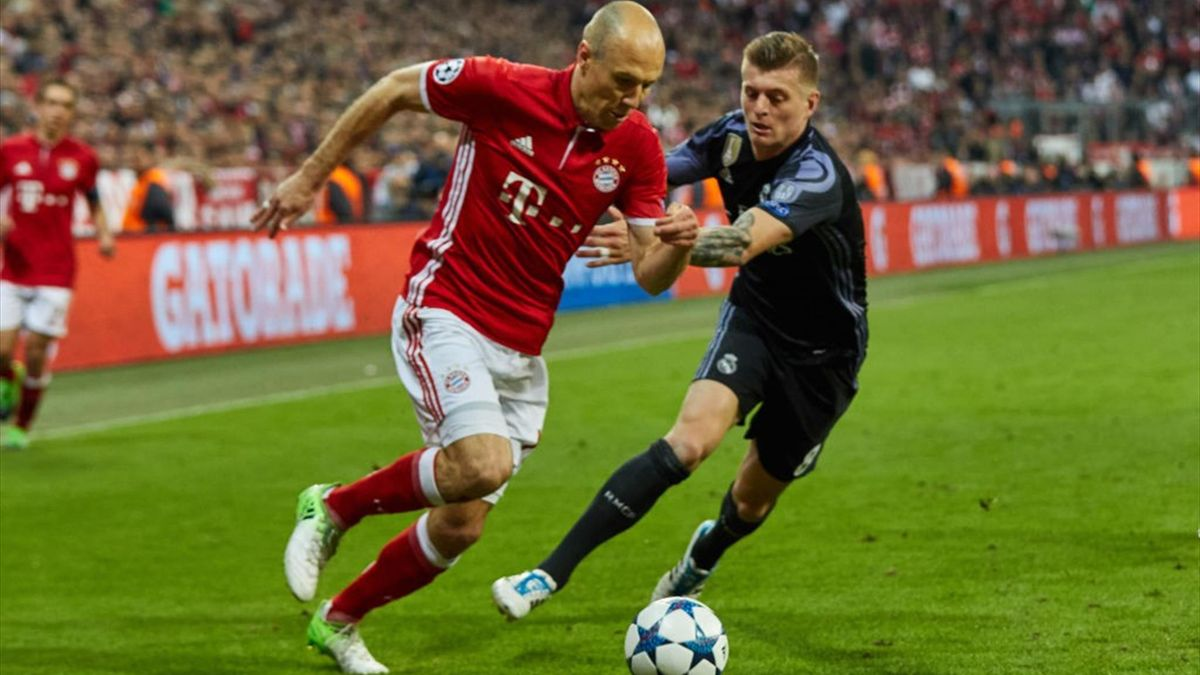 Arjen Robben și Toni Kroos într-un Bayern - Real Madrid