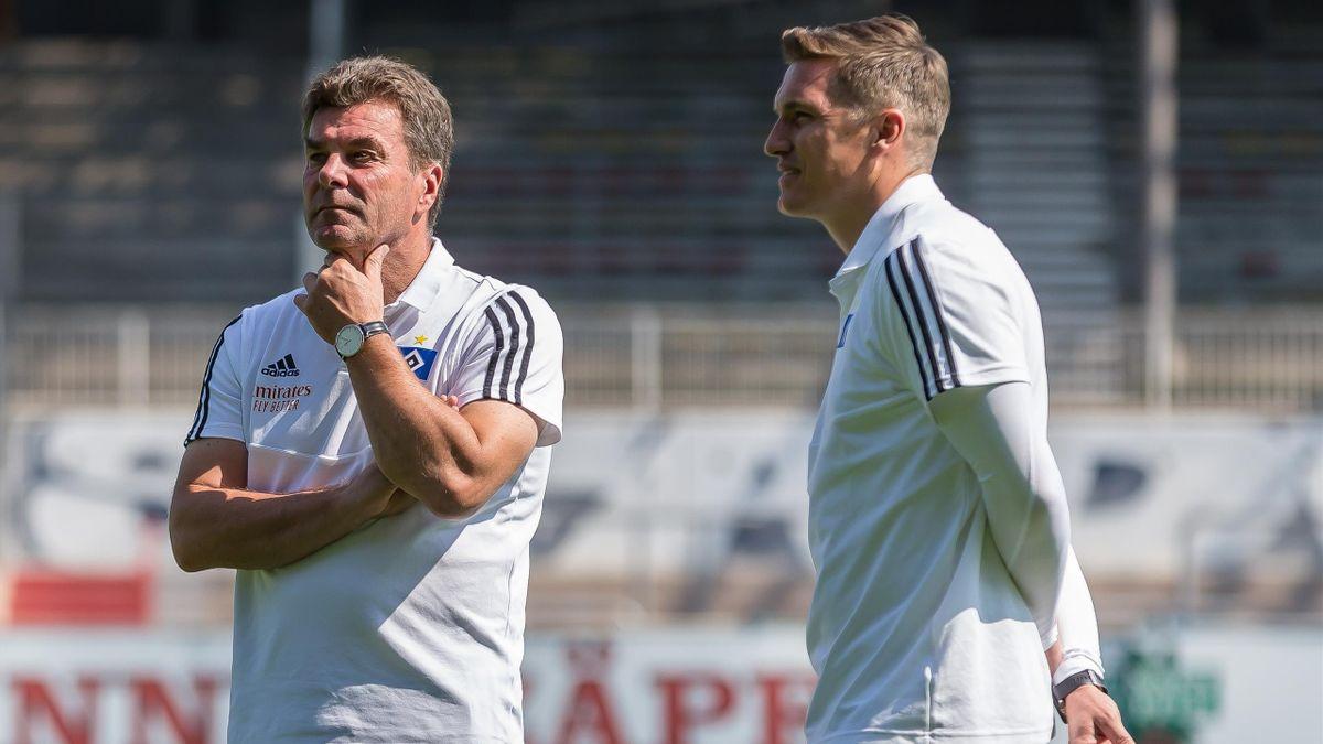 Dieter Hecking und Tobias Schweinsteiger beim Hamburger SV