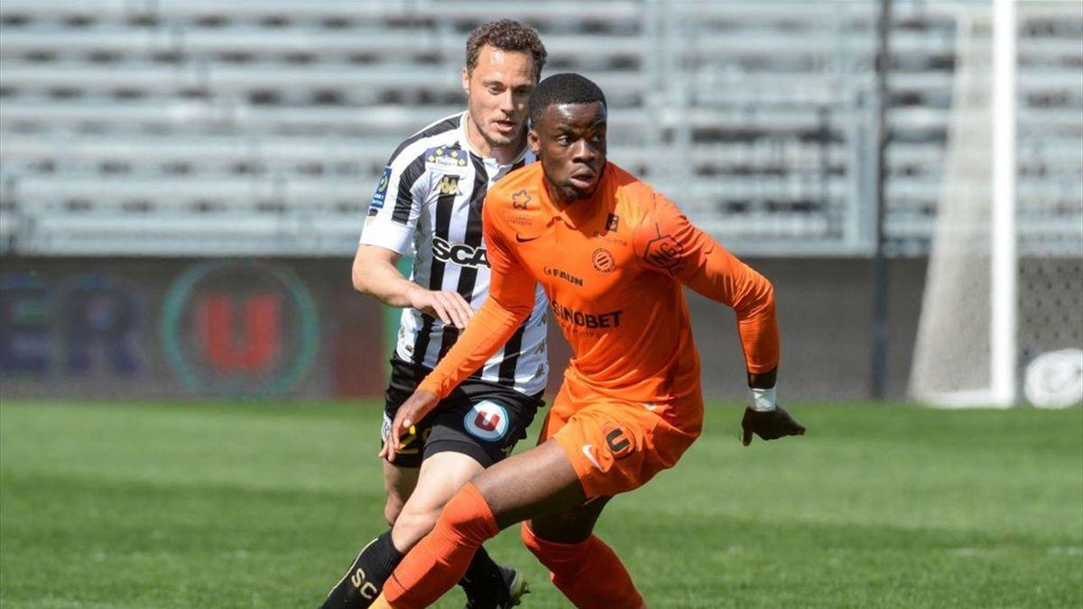Stephy Mavididi (Montpellier) contre Angers en Ligue 1 le 4 avril 2021
