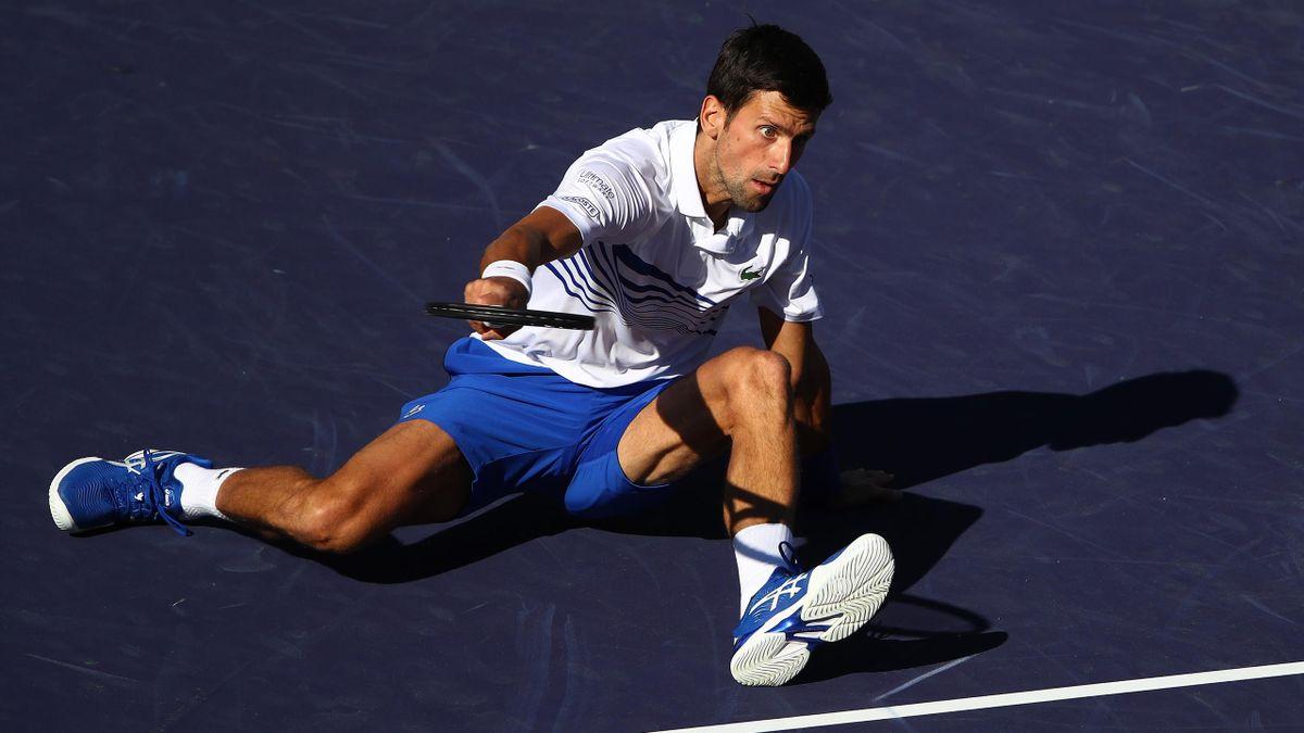 Novak Djokovic à terre à Indian Wells