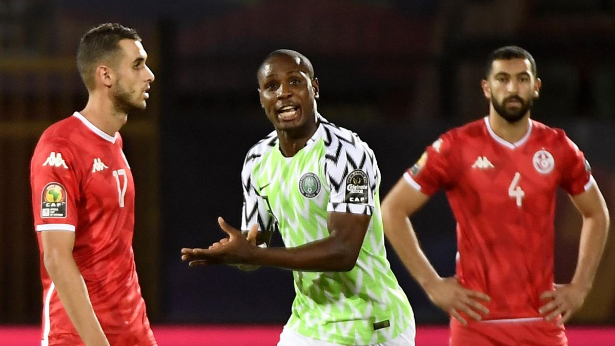 Nigeria's forward Odion Ighalo (2nd-R) celebrates after scoring a goal during the 2019 Africa Cup of Nations (CAN) third place play-off football match between Tunisia and Nigeria