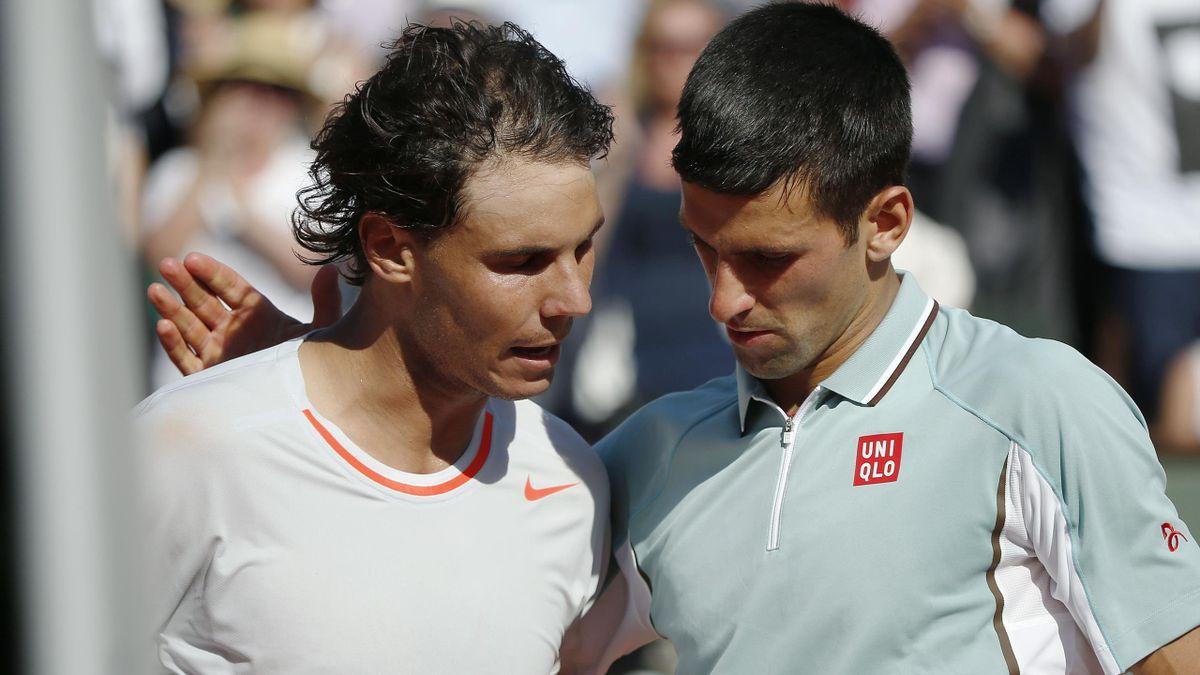 Rafael Nadal et Novak Djokovic à Roland-Garros en 2013.