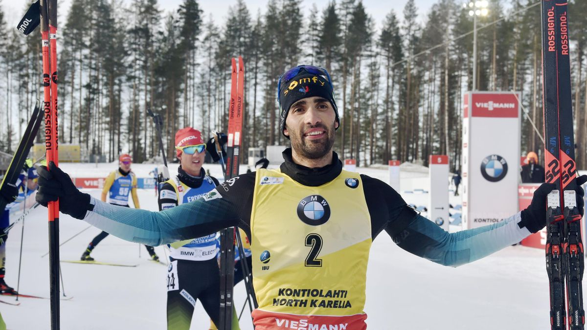 Martin Fourcade of France celebrates his victory and end of career after the men's 12,5 km Pursuit competition at the IBU Biathlon World Cup in Kontiolahti, Finland, on March 14, 2020. - Fourcade ends his career now at the end of the season in Kontiolahti