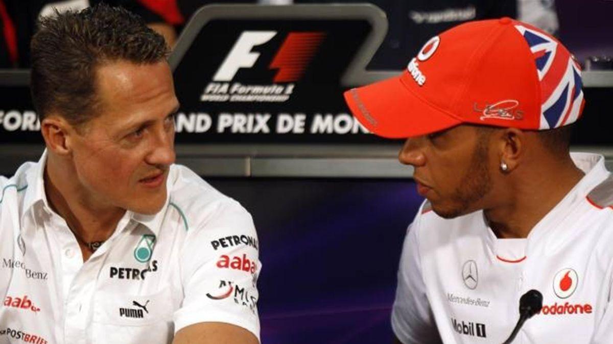 Michael Schumacher and Lewis Hamilton at Monaco in 2012