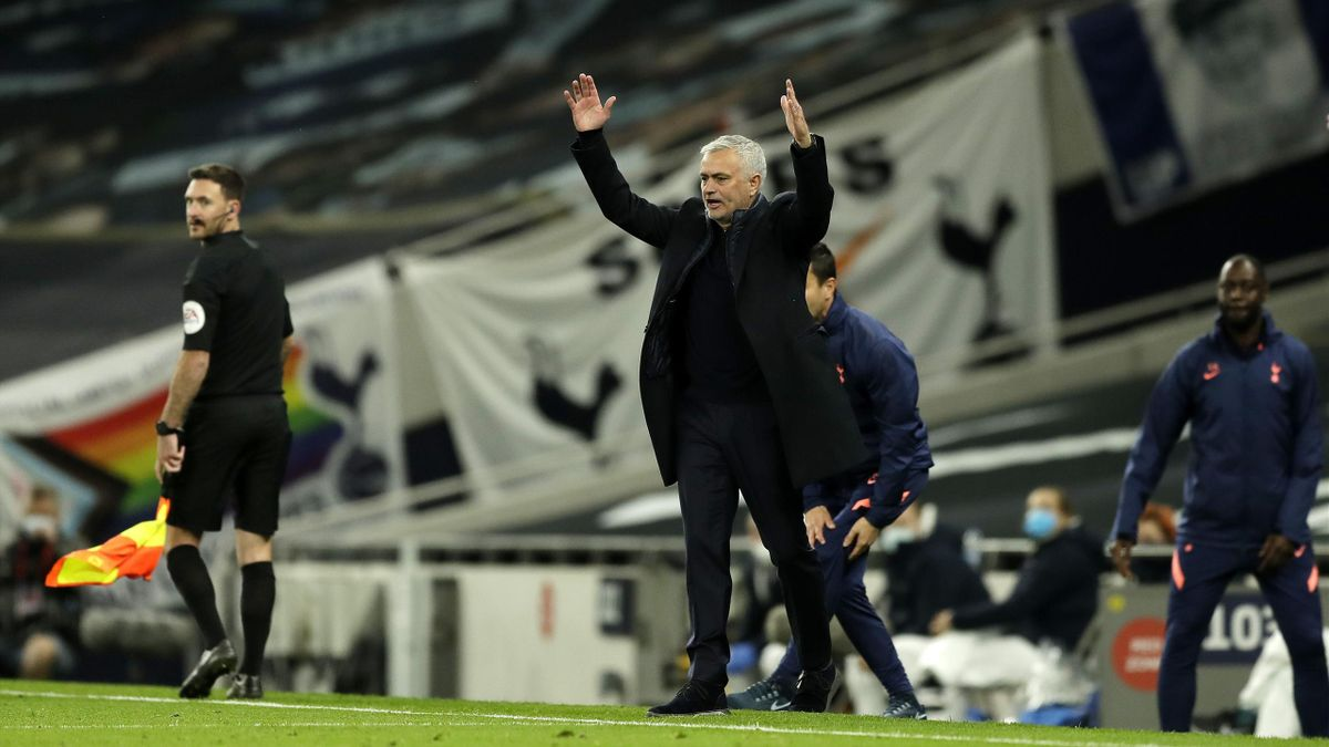 Jose Mourinho, Manager of Tottenham Hotspur reacts during the Premier League match between Tottenham Hotspur and West Ham United at Tottenham Hotspur Stadium