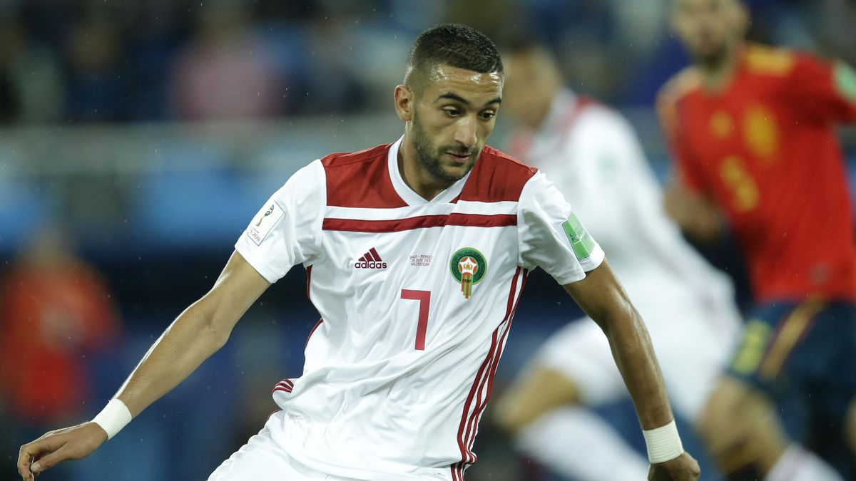 Hakim Ziyech of Morocco during the World Cup match between Spain v Morocco