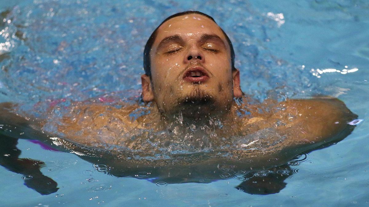 Florent Manaudou à Montpellier pendant les Championnats de France en petit bassin