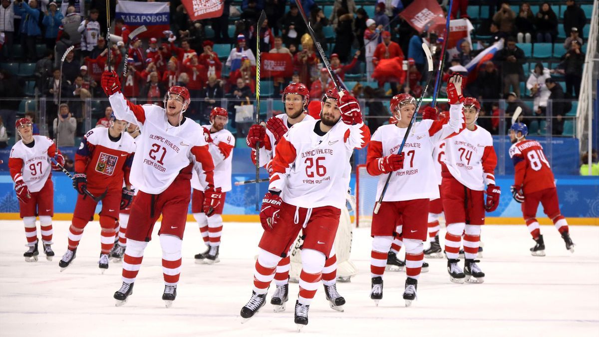 Olympic Athletes from Russia acknowledge the crowd after defeating Czech Republic 3-0 during the Men's Play-offs Semifinals on day fourteen of the PyeongChang 2018 Winter Olympic Games