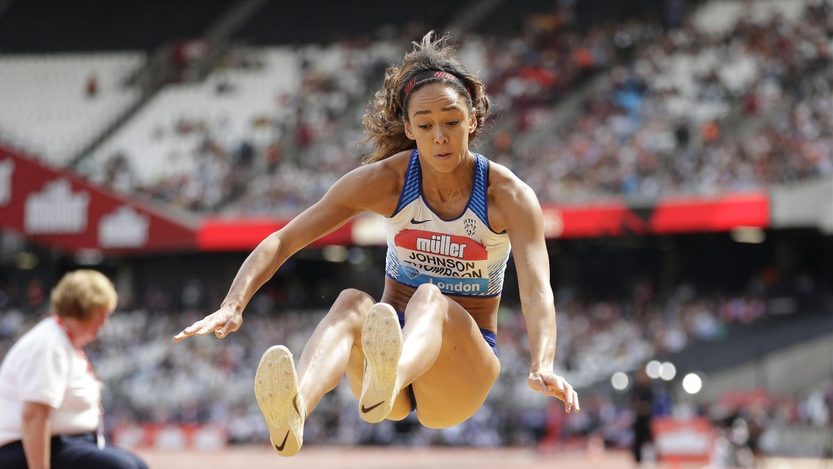 Katarina Johnson-Thompson in action during day two of the Anniversary Games