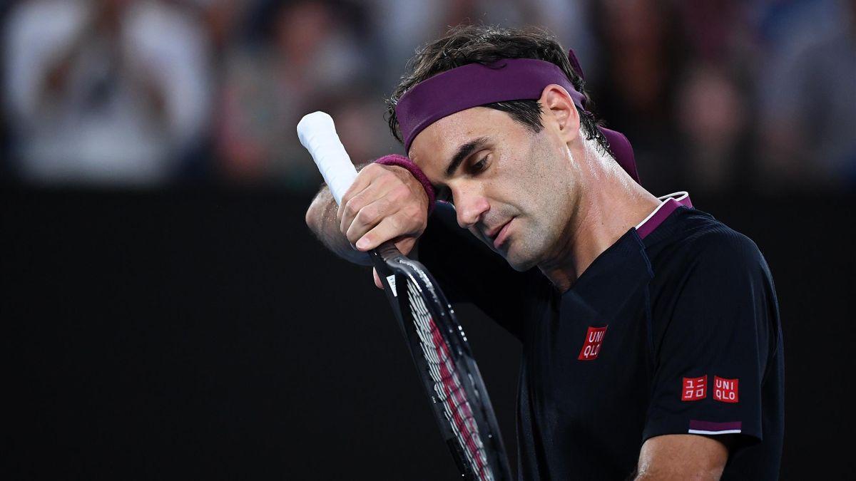 Roger Federer lors de sa demie face à Novak Djokovic à l'Open d'Australie 2020