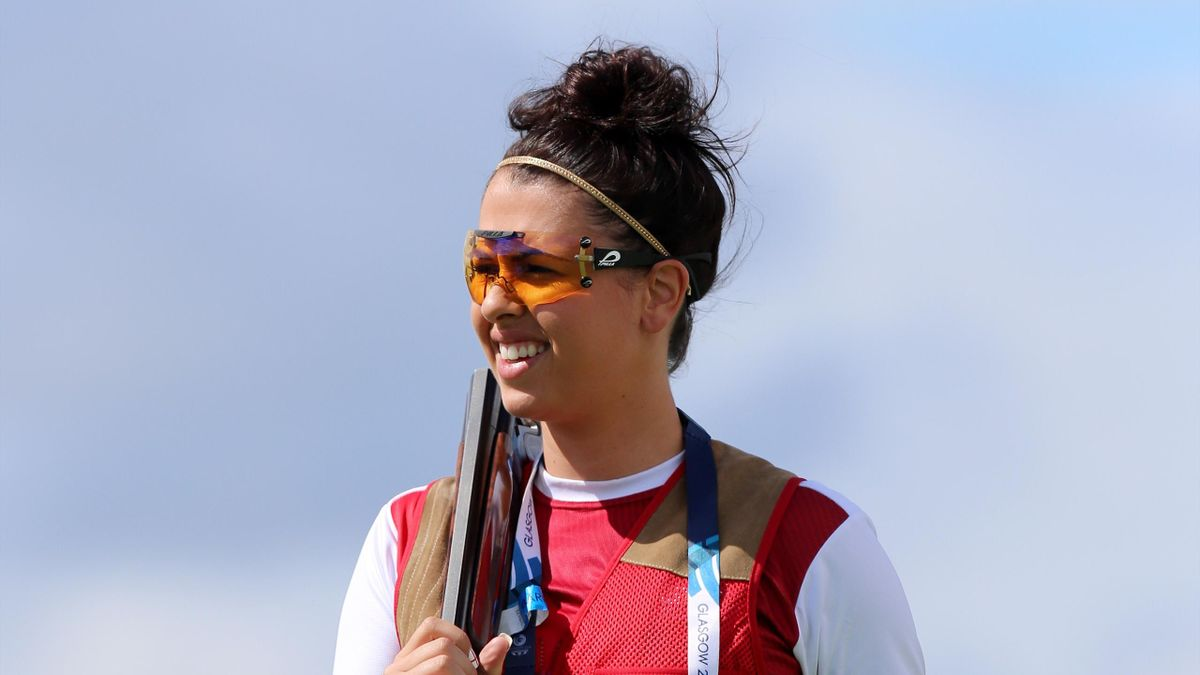 England's Charlotte Kerwood in action during her gold medal winning performance in the Women's Double Trap (PA Photos)