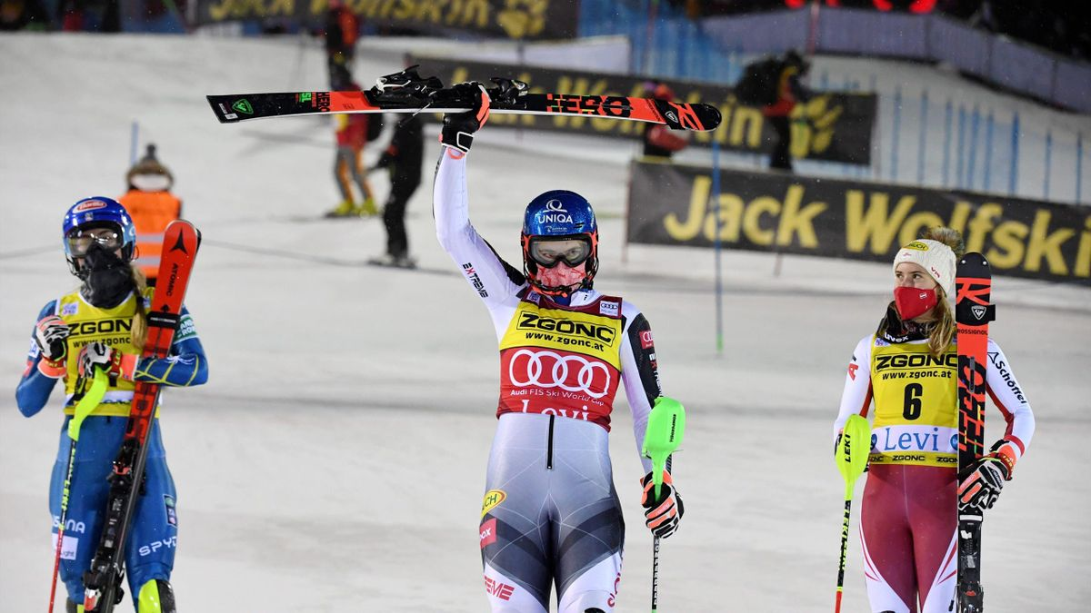 Petra Vlhova (C) of Slovakia celebrates her victory with second-placed Mikaela Shiffrin (L) of the United States and third-placed Katharina Liensberger of Austria after the second run of the FIS Alpine Ski World Cup women's slalom race at the Levi ski res