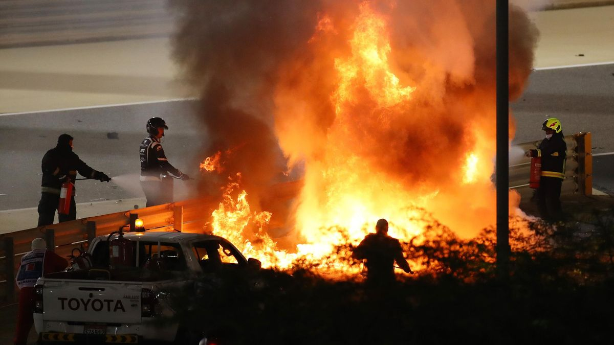 Пожар после аварии с участием Грожана