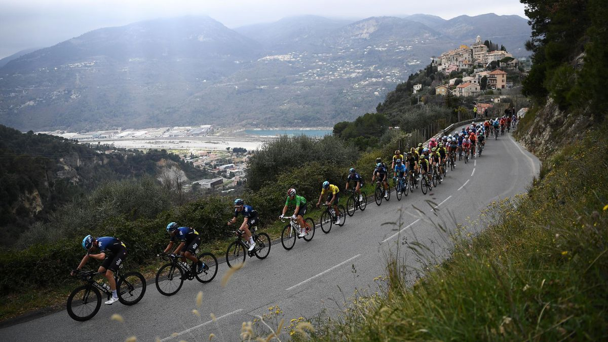 The pack rides the 110km 8th and last stage of the 77th Paris-Nice cycling race stage between Nice and Nice, near La Roquette-sur-Var on March 17, 2019. (Photo by Anne-Christine POUJOULAT / AFP) (Photo credit should read ANNE-CHRISTINE POUJOULAT/AFP via G