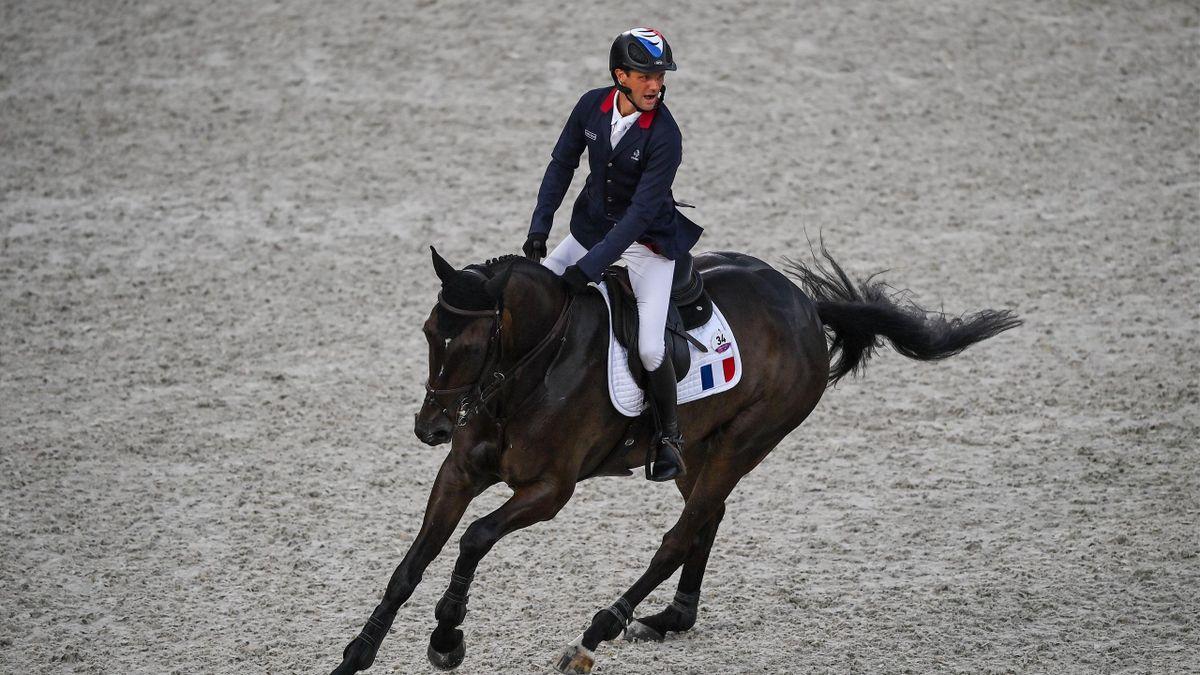 Nicolas Touzaint lors du concours complet individuel aux Jeux Olympiques de Tokyo, le 2 août 2021