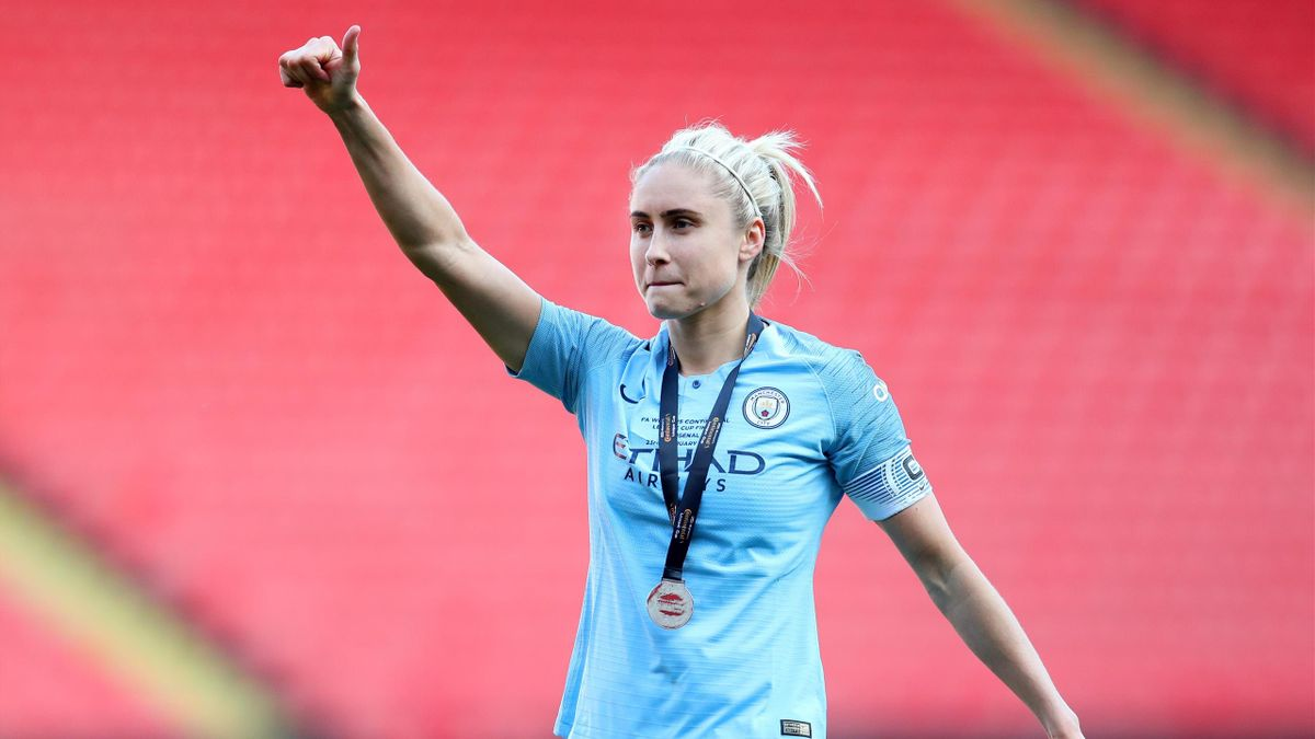 Steph Houghton of Manchester City Women acknowledges the fans following the FA Women's Continental League Cup Final between Arsenal and Manchester City Women at Bramall Lane on February 23, 2019 in Sheffield, England.