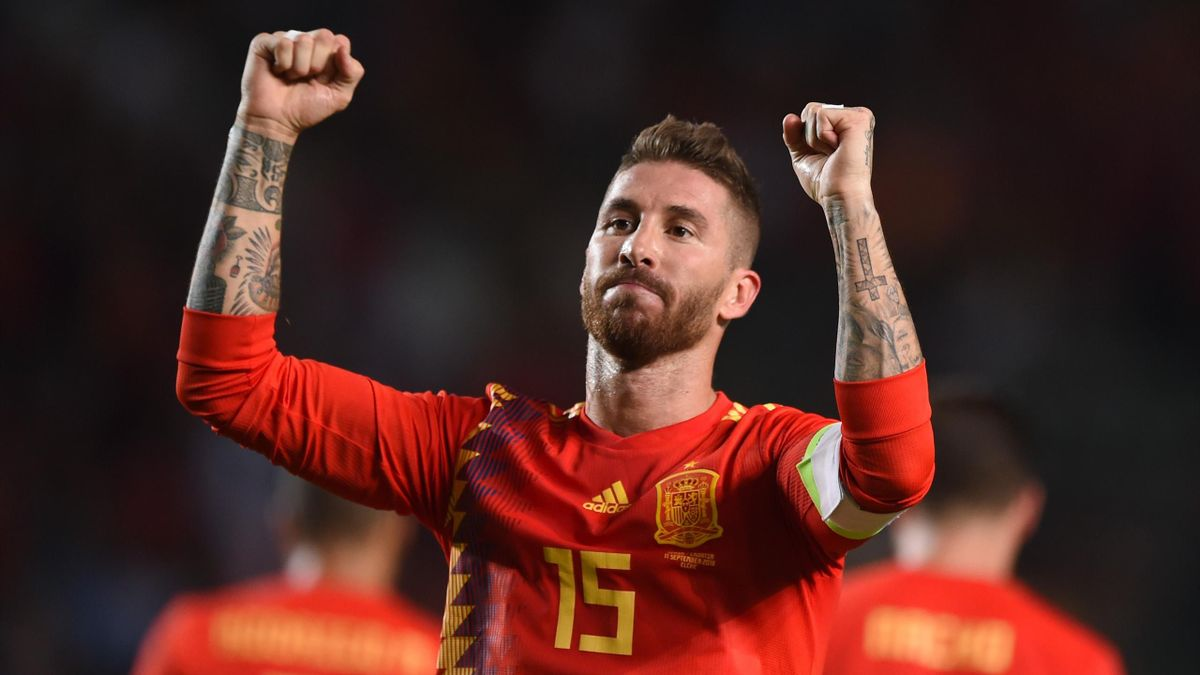 Sergio Ramos of Spain celebrates after scoring his team's fifth goal during the UEFA Nations League A Group four match between Spain and Croatia at Estadio Manuel Martinez Valero