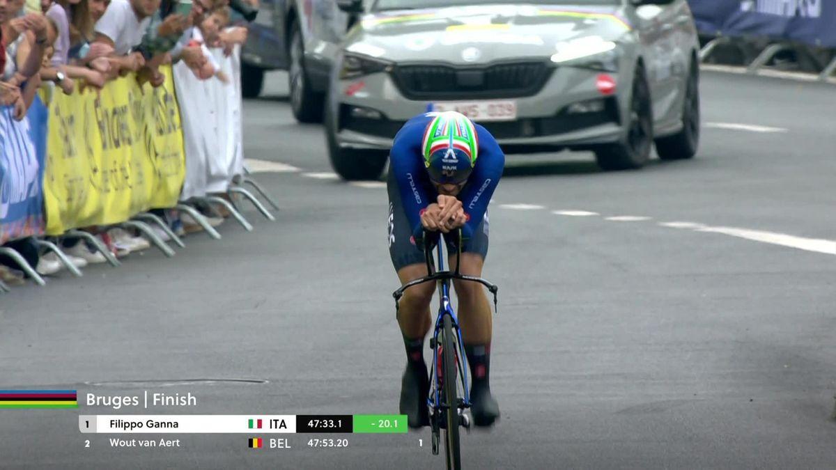'Belgian hearts are broken' - Ganna defends time trial title