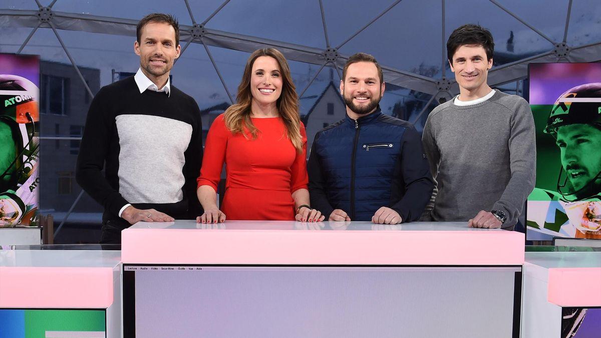Das Winter-Team von Eurosport Deutschland: Sven Hannawald, Birgit Nössing, Matthias Bielek, Martin Schmitt