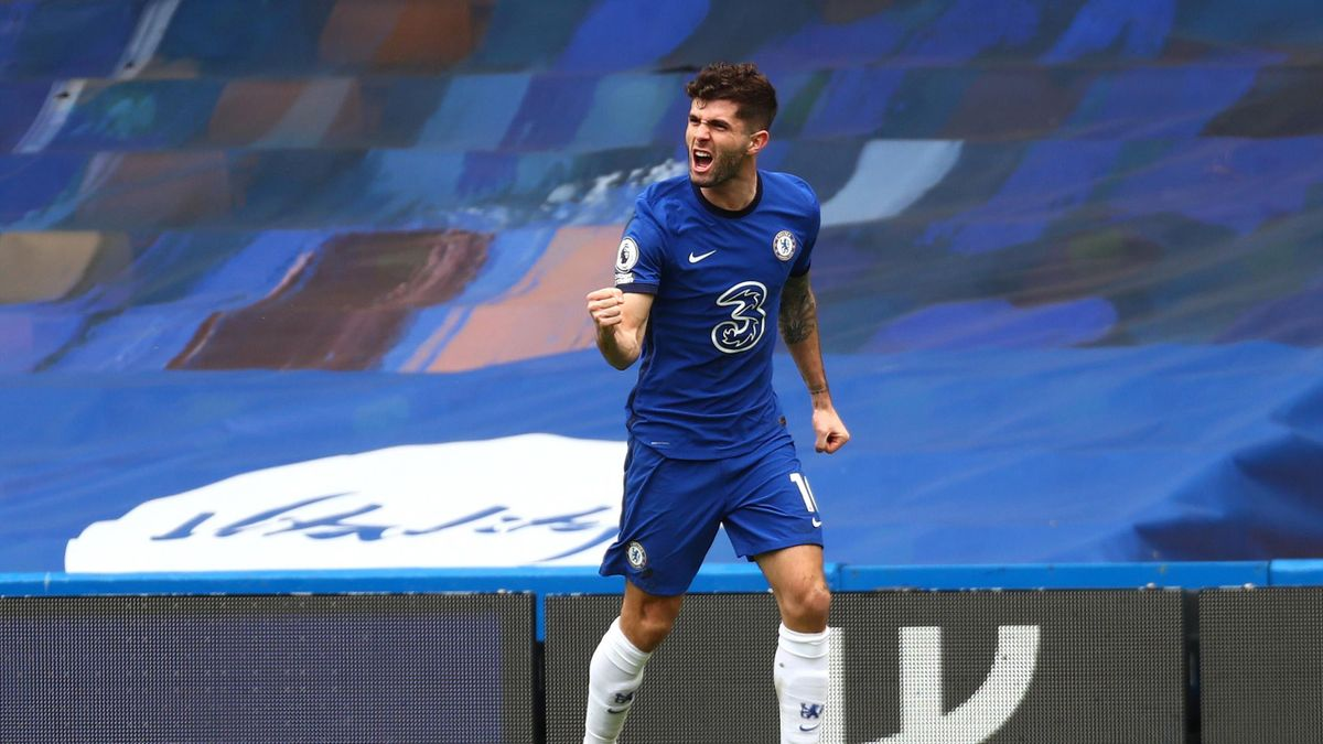 Christian Pulisic of Chelsea celebrates after scoring their team's first goal during the Premier League match between Chelsea and West Bromwich Albion at Stamford Bridge on April 03, 2021 in London, England