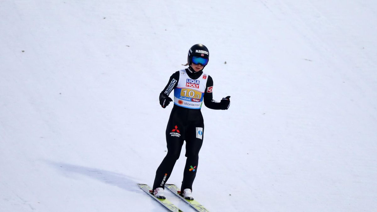 Maren Lundby of Norway reacts after her jump