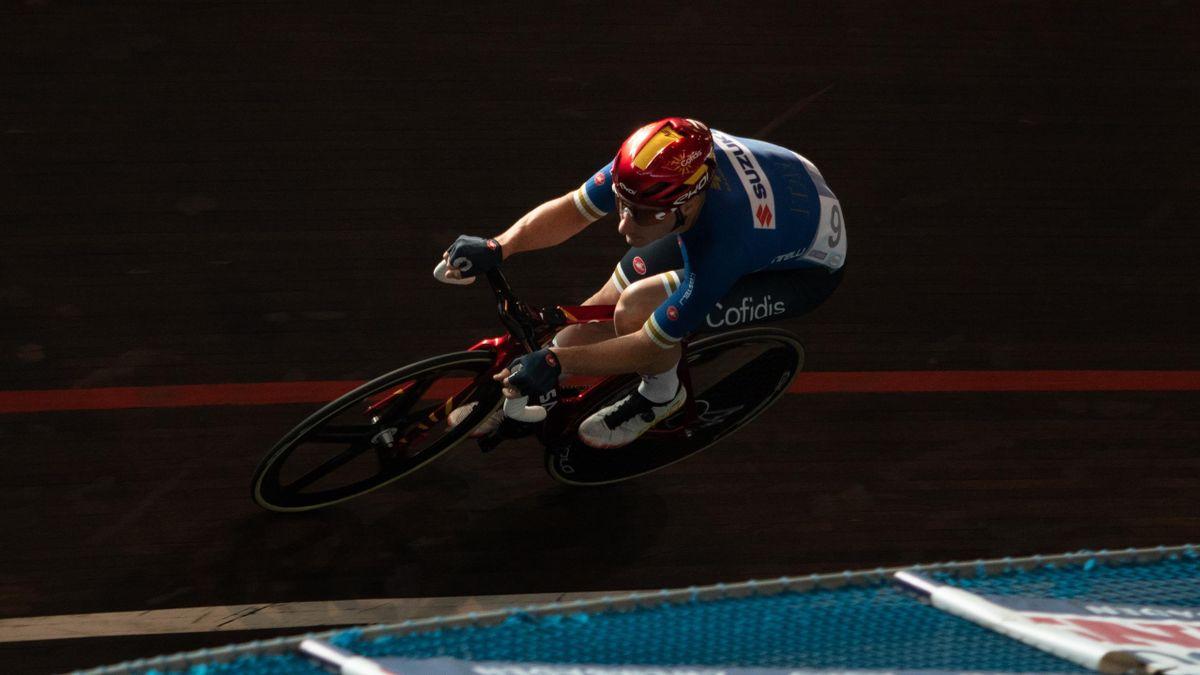 Elia Viviani durante una prova dell'Omnium durante il Track Meeting del Belgio 2021 (ciclismo su pista) - Getty Images