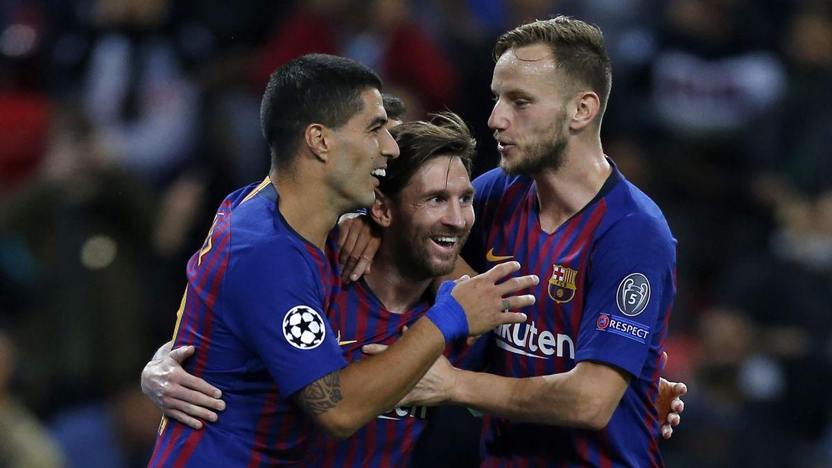 Luis Suárez, Lionel Messi, Ivan Rakitic (Tottenham Hotspur vs. FC Barcelona)