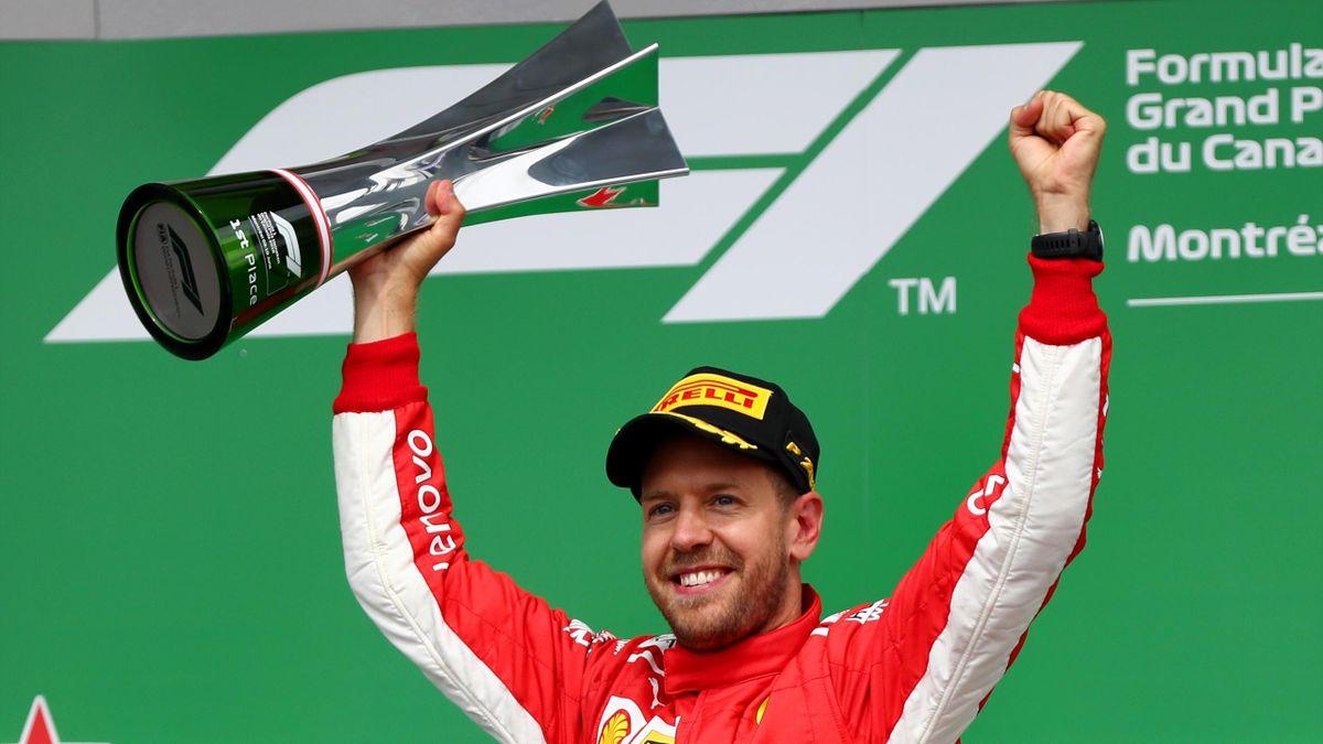 Sebastian Vettel festeggia il successo nel Gp del Canada, Getty Images