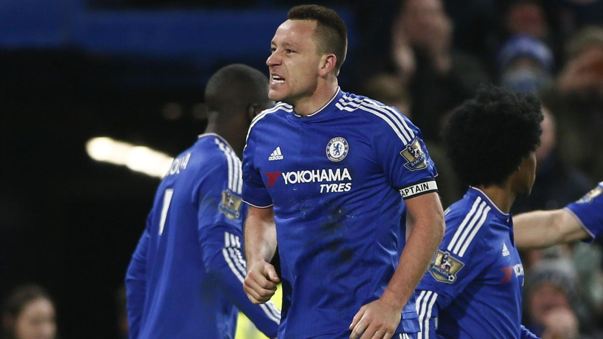 John Terry celebrates scoring the third goal for Chelsea