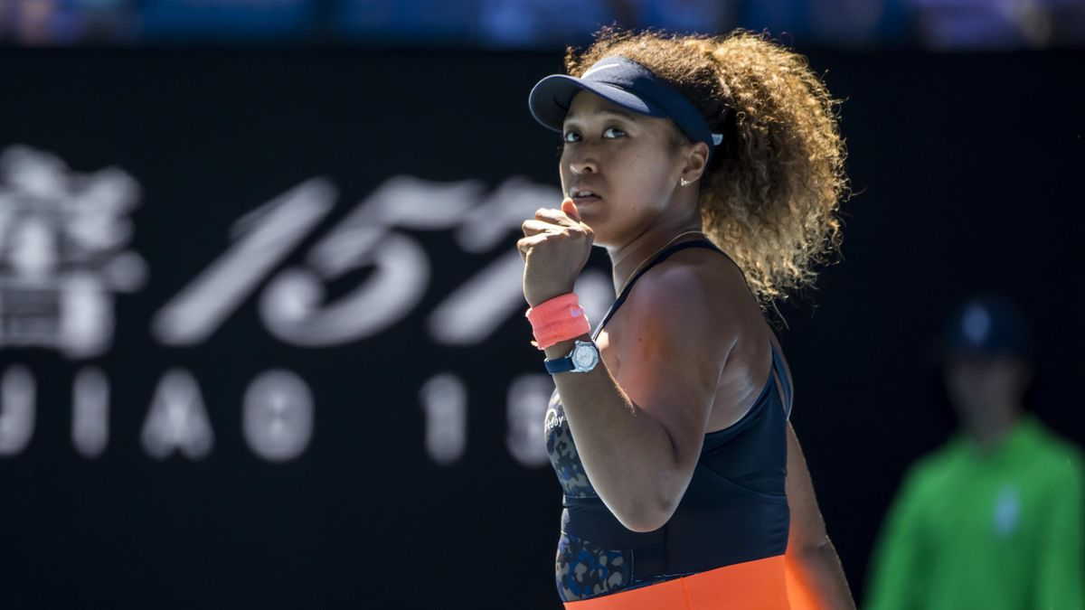 Naomi Osaka of Japan celebrates after winning a game during the semifinals of the 2021 Australian Open on February 18 2021, at Melbourne Park