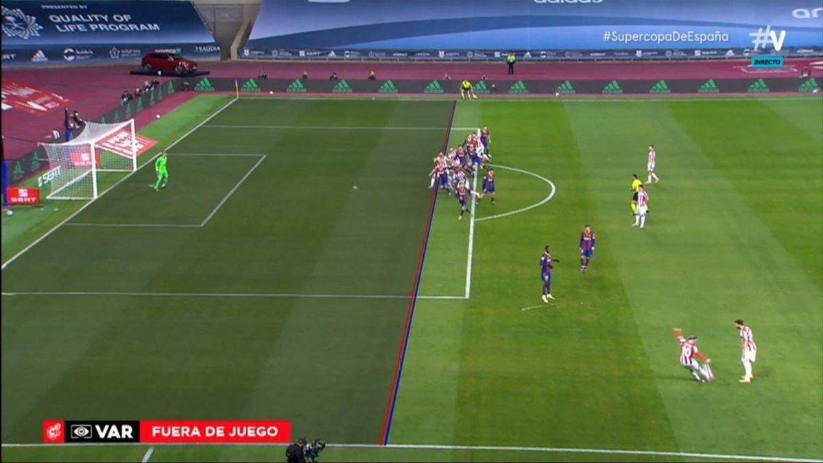 Captura de la imagen del VAR en la jugada del gol anulado a Raúl García (Athletic)