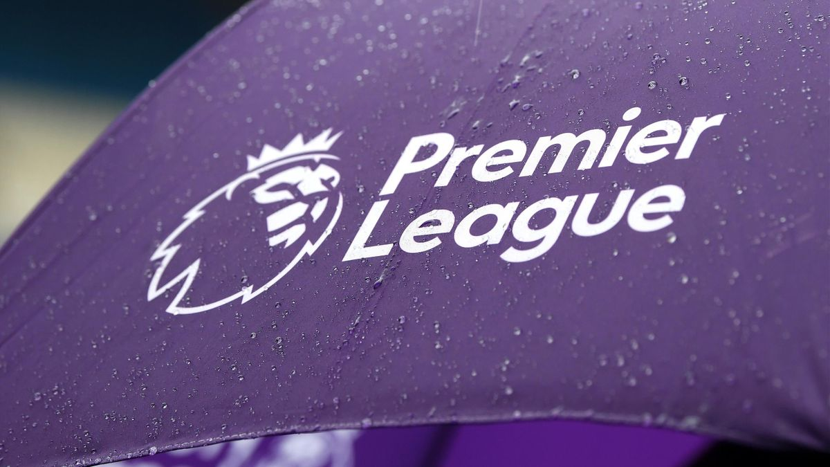 A detailed view of the Premier League logo is seen on an umbrella