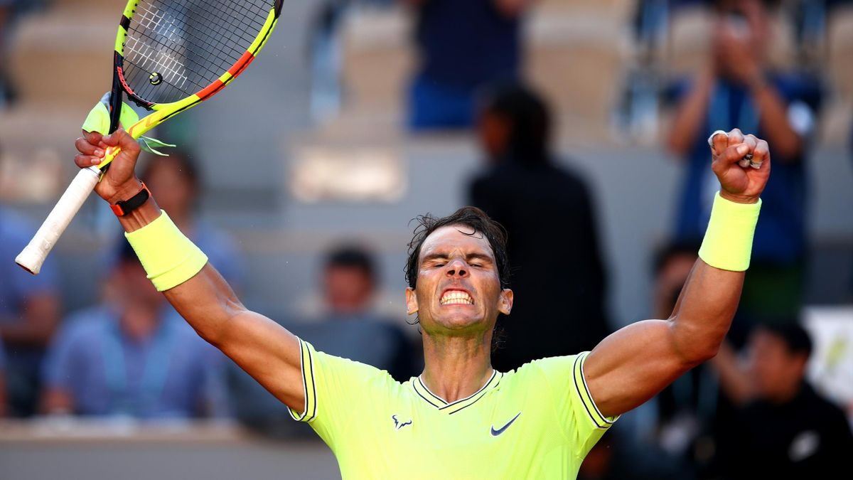Rafael Nadal of Spain celebrates victory during his mens singles third round match against David Goffin of Belgium during Day six of the 2019 French Open at Roland Garros on May 31, 2019 in Paris, France.