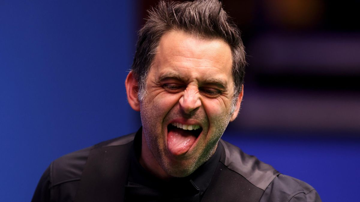 Ronnie O'Sullivan of England reacts during the Betfred World Snooker Championship Round Two match between Anthony McGill of Scotland and Ronnie O'Sullivan of England at Crucible