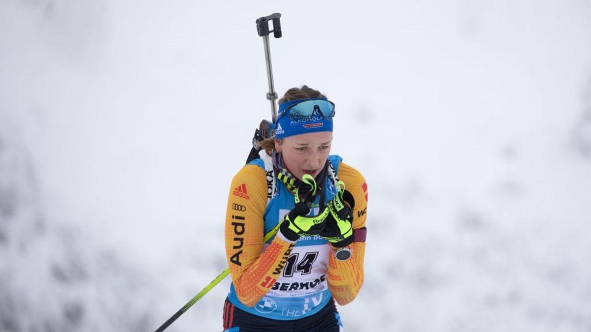 Franziska Preuß wird am Sonntag nicht in der Mixed-Staffel laufen
