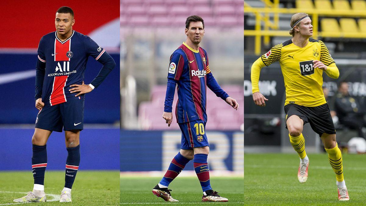 Kylian Mbappé (PSG) - Lionel Messi (FC Barcelone) - Erling Haaland (Borussia Dortmund)