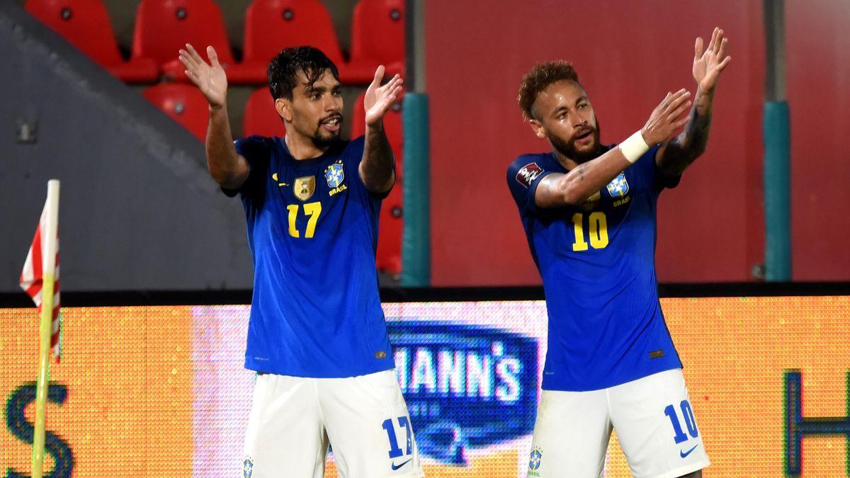 Lucas Paqueta et Neymar, avec le Brésil