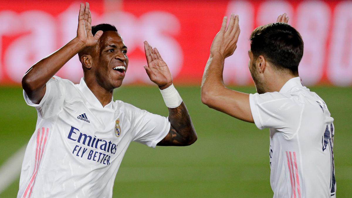 Vinicius Junior et Marco Asensio lors du match opposant le Real Madrid à Valladolid, le 30 septembre 2020