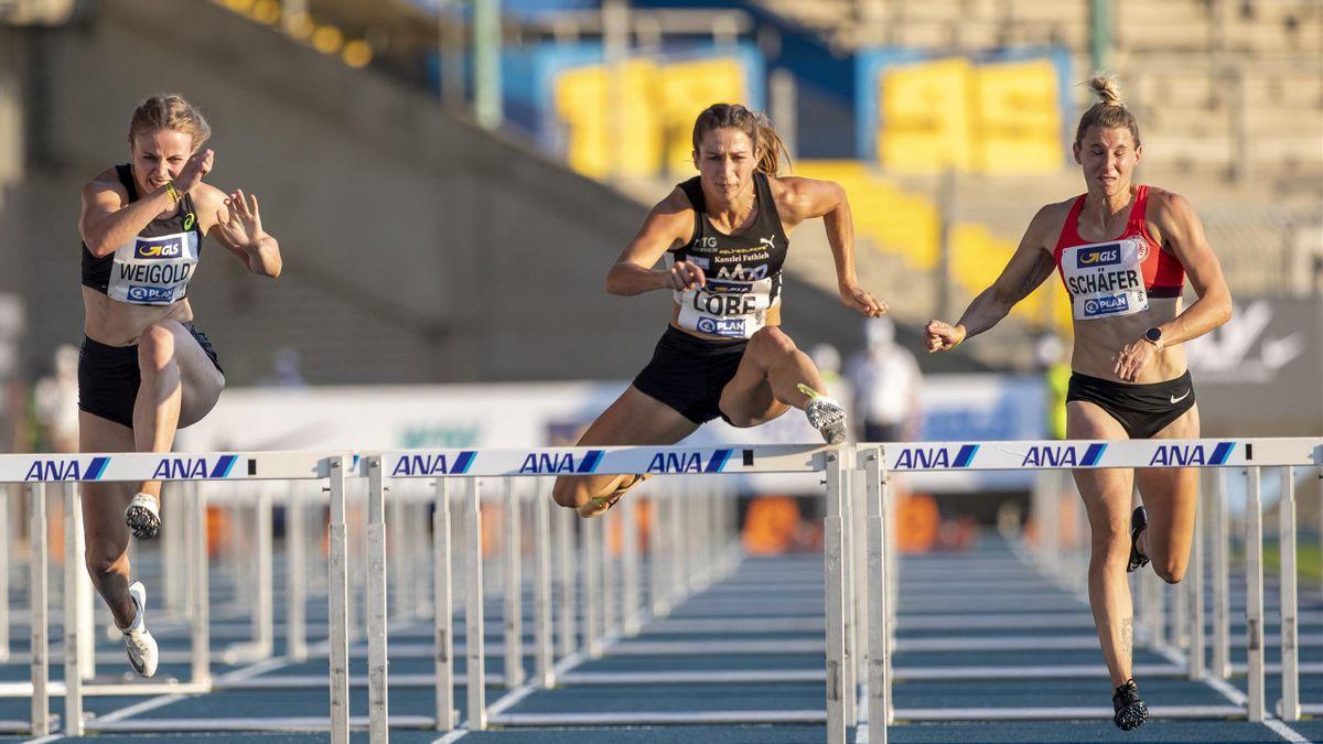 Ricarda Lobe (Mitte) bei den Deutschen Meisterschaften 2020. Auch 2021 wird die Leichtathletik-DM wieder in Braunschweig ausgetragen