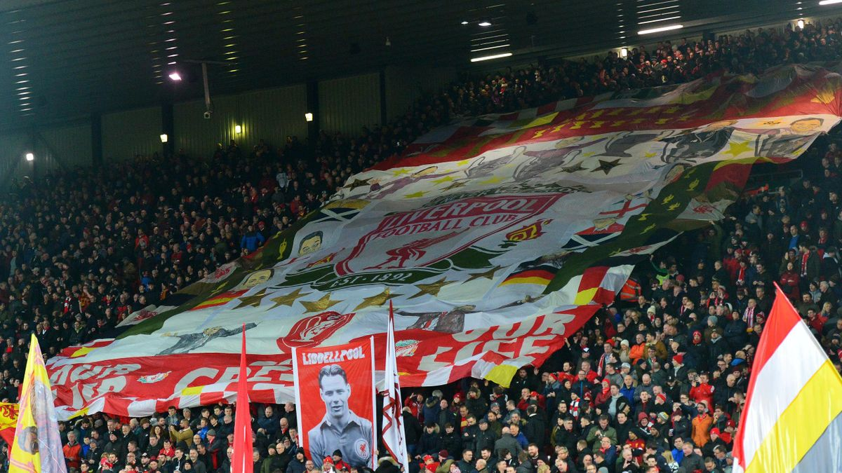 General View of the Kop during the Premier League match between Liverpool FC and West Ham United at Anfield on February 24, 2020 in Liverpool, United Kingdom.