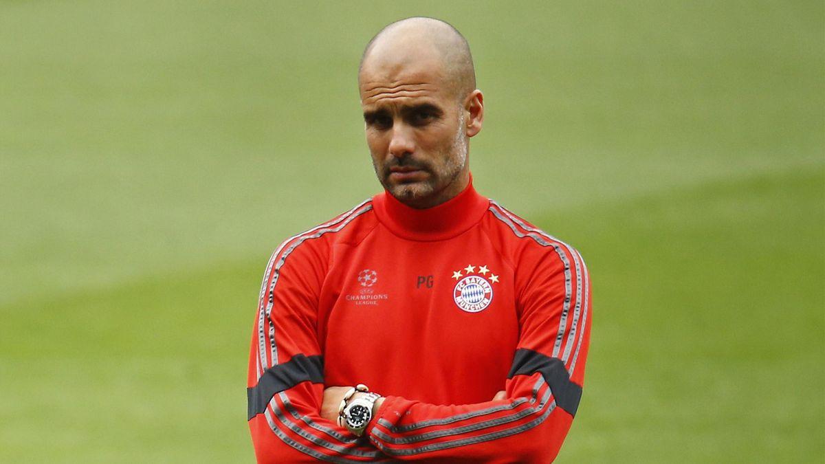 Bayern Munich coach Josep Guardiola during training